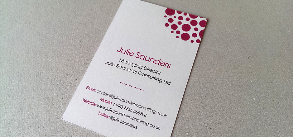 Julie Saunders Consulting business card