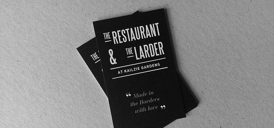 The Restaurant & The Larder at Kailzie Gardens business card design