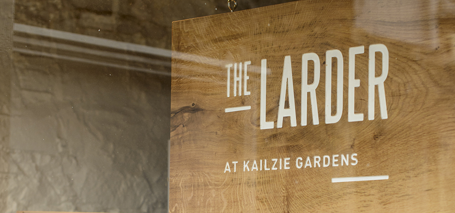 The Larder - hand carved wooden sign (Photography by www.marcmillarphotography.com)