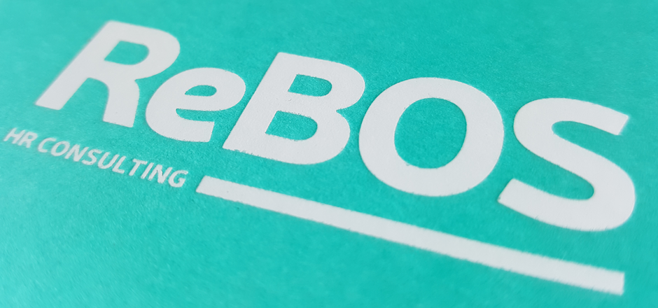 ReBOS business cards, white foil blocking